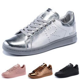Apartamentos de cobre on-line-2017 Raf Simons Stan Smith Primavera de Cobre Branco Rosa adidas stansmith superstar super star Preto Sapato Da Moda Homem de Couro Casual sapatos de homem mulher Flats Sneakers 36-45