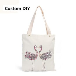 Wholesale Custom Print Canvas - Wholesale- Personal Tailor DIY Bag Custom Printed Canvas Tote Bags Shopping Bag Animal Prints Women Bags Peacock Face To Face