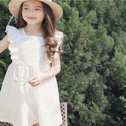 2019 vestidos de noiva de bebê branco e azul curto Verão Menina Ruffle Lace Manga Curta Vestido Para A Idade 3-8 Crianças Do Bebê Da Princesa Do Partido Do baile de Finalistas Branco Azul Elegante Vestido Da Criança Roupa Dos Miúdos desconto vestidos de noiva de bebê branco e azul curto