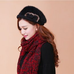 Wholesale Cheap Gift Bows - Wholesale-rabbit fur black bow decoration women gorras planas female fashion 2015 new design bone rose red female cheap gift beret