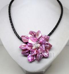 hängende mutter perle china Rabatt Schale Perlmutt MOP Kristall Perle Anhänger Halskette schwarzes Leder