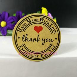 Wholesale Sticker Seals - Handmade WIth Love Sticker 300pcs lot 38*38mm Vintage Stickers Kraft Sticker DIY Hand Made For Gift Cake Baking Sealing Sticker