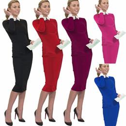 Wholesale Blue Collar Careers - New Career Women Autumn Turn-down Collar Fit Work Dress Vintage Elegant Business office Pencil bodycon Midi Dress Plus Size XXL S751