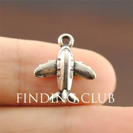 Wholesale Airplane Charms - Wholesale-Free Shipping! 30pcs vintage silver Metal Alloy Newest Cute silver airplane charm Fit Necklaces Pendants A1189