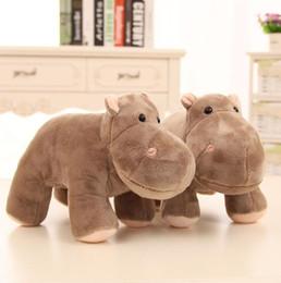 Wholesale Hippo Toys - 1 pcs 23 cm super cute plush toy lover hippo hippopotamus stuffed doll gray Christmas birthday gift