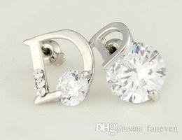 Wholesale alphabet designer - luxury brand small letter designer flowers brincos bijoux bijouterie earrings for women