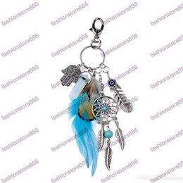 Wholesale Dreamcatcher Keychains - natural opal stone dreamcatcher keyring fashion silver boho jewelry feather keychain for women 2017 new