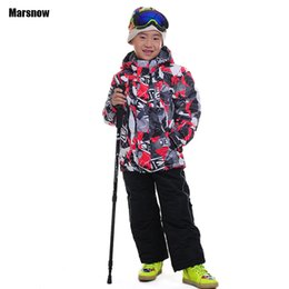 Wholesale Boys Suit Size Red - Wholesale- 110-164 winter suit children wear 2016 clothing set windproof ski jackets+pant girls boys outdoor warm baby kids snow suits