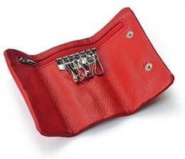 Wholesale Wholesale Purse Chains - PU Leather Key Wallets Bags Key Holder Wallet Coin Purse Hasp Open For Women Fashion Gift Red Blue Black Brwon Purple