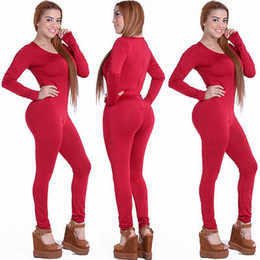 Wholesale Wholesale Womens Overalls - Wholesale- Tight Bodysuit Sexy Overalls Night Club Rompers Womens Jumpsuit Playsuit Bodycon Jumpsuit Macacao woman 2016 long Sleeve 4 color