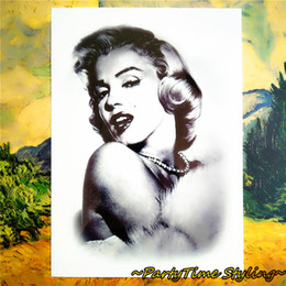 Wholesale Marilyn Monroe Stickers - Wholesale- Goddess Marilyn Monroe Temporary Tattoo Body Art, Sleeve Flash Tattoo Stickers 12*20cm Waterproof Tatto Henna Fake Tatoo Sticker