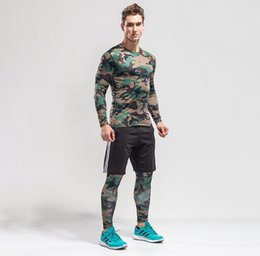 Wholesale wholesale basketball clothing sports - 2017 Camouflage 3pcs Men Sport Suits Quick Dry Basketball Soccer Training Tracksuits Fitness Gym Clothing Running Sets