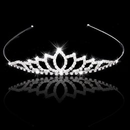 Wholesale Tiara Pearls Rhinestone - Wedding Accessory Women Party Pageant Crystal Bridal Tiara Silver Plated Crown Hairband
