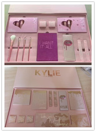 Wholesale Pink Cosmetic Brushes - 2017 new Kylie Jenner Cosmetics 4pcs Pink Set and kylie vacat I Want It All Birthday Collection Limited Edition Makeup Brushes High Quality.