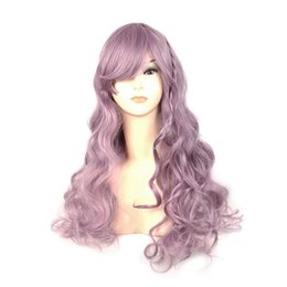 Wholesale Wig Light Purple - Women light purple taro wig wavy long wavy synthetic wigs with bangs braid hair heat resistant fiber