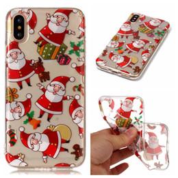Wholesale Iphone Christmas Santa Case - Christmas navidad noel Santa Claus Soft TPU case for iphone 5S 6 6S 7 8 Plus X Samsung S5 S6 S7 S8 Plus Note 8