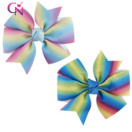 Wholesale Colorful Hair Ombre - 3 Inch Rainbow Small Ombre Pinwheel Hair Clip Bowknot Colorful Hair Bow For Kid Girl Baby Hair Accessories