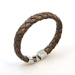 2019 styles bracelet en acier inoxydable à la main Bracelet en cuir tressé fait main de style punk avec bracelet en acier inoxydable pour les hommes femmes véritable bracelet en cuir en gros styles bracelet en acier inoxydable à la main pas cher