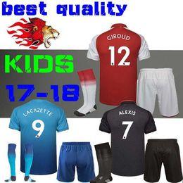 Wholesale Best Youth Jerseys - Best quality 17 18 blue ALEXIS sanchez soccer jersey kids boy Kits 2017 2018 GIROUD Lacazette OZIL Walcott away gray third kid youth sets