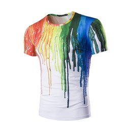 Wholesale T Shirt Fabric Wholesale - Wholesale- New Arrival Men paint splash-ink T-shirt Casual 3D Color t-shirts Men's Fashion Tees Short Sleeve Brand Strech fabric