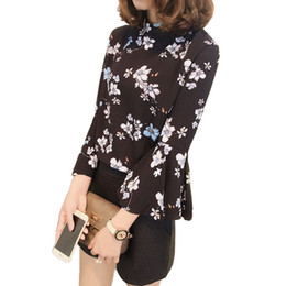 Wholesale Korean Office Blouses - Spring Floral Chiffon Blouse Women Tops Flare Sleeve Shirt Women Ladies Office Blouse Korean Fashion Blusas Chemise Femme