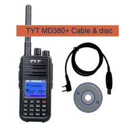 Wholesale Dmr Digital Radios - Wholesale- DMR Digital radio TYT MD-380 Walkie Talkie professional 1000 Channels 136-174MHZ Tytera MD380 two-way radio rt3+PROGRAM CABLE