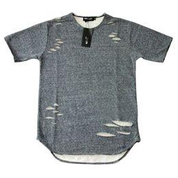 Wholesale Tyga T Shirts - Kanye West Fashion Summer Hip Hop T Shirt Extended Hole Clothes Swag Tshirt Homme Shirts Tyga Terry T Shirts