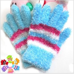 Wholesale Yellow Ladies Gloves - Female Knitted Mittens Full Finger Gloves Ladies Colorful Stripe Gloves Winter Warm Feather Magic Knitted Gloves