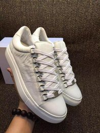 Wholesale White Hi Tops Shoes - Best Edition Low Top Arena Sneakers White Black Wrinkle Leather Kanye West Trainers Shoes High Quality Men's Hi Street Boy 38-46