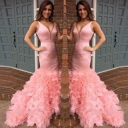 Wholesale Cheap Cocktail Dresses Size 12 - Pink Organza Ruffles Prom Dresses Sexy Deep V Neck Mermaid Evening Gowns Cocktail Formal Party Gowns Cheap