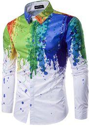 Wholesale Men Dress Shirts New Style - New Korean Style Splashed Paint Design 3D Print Men Dress Shirt Slim Fit Male Long Sleeve Shirts chemise homme Plus Size M-3XL