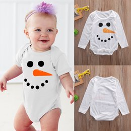 Wholesale Baby Boy White Suits - Christmas Pajamas Toddler Outfit Xmas Snowman Shirt Baby Romper Set Girl Boys Long Sleeve Onesies Infant One-Piece Autumn Kids Clothing Suit
