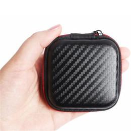 Wholesale Hard Storage - Black Fiber Zipper Headphones Earphone Earbuds Hard case Storage Pouch SD Card Earbuds Hard Case Trinketry Storage