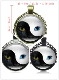 Wholesale Yin Yang Pendant Wholesalers - 10pcs 3Syle Fashion Tai Chi YIN YANG Glass Cabochon Pendant Necklace Silver Color Statement Jewelry Cat Eye Necklace for Women Men