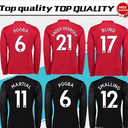 Wholesale Sleeve Flash - New #6 POGBA home red long sleeve Soccer Jersey 17 18 #19 RASHFORD away black Soccer Shirt Customized #11 MARTIAL football uniform Sales