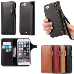 Wholesale Iphone Wallet Lanyard - Vintage Luxury PU Leather Wallet Cell Phone Case with Lanyard Magnetic Button with TPU Soft Cover Skin for iphone 7 7 plus 6 6s 6 plus 5s