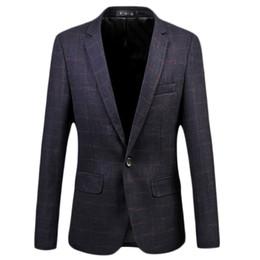 Wholesale Popular Business Suit - Wholesale- 2017 New Arrival Dark Purple Plaid Business Casual Men Blazers Single-button Formal Popular Desgin Men Dress Suit Jackets