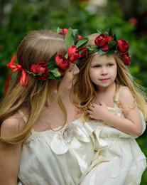 Wholesale Red Rose Hair Flower Wedding - 2017 BohemianStyle two layer rose flower Wreath Flower Crown Wedding Bride Garland Forehead Hair Head Band Beach Wreath