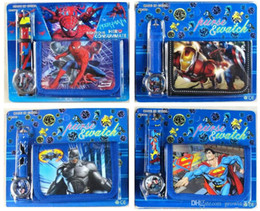 Wholesale Plastic Birthday Gifts - Christmas gift watches fashion kids boys girls children spiderman superman ben 10 batman cartoon wallet and watches birthday party watches