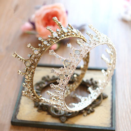 Wholesale Hair Bows Blue Yellow - 2017 Castle Wedding Bridal Crown Big Size Hair Accessories Baroque Princess Vintage Crystal Shiny Rhinestone Headwear Handmade Factory Sale