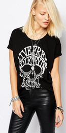 Wholesale Woman White Skull Tee - Women LAGERFELD Letter T-shirt New Skull Printed Black Punk Cotton T Shirts Womens MEN Tops Brand Plus Size Tee Top off white supre