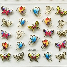 Wholesale Gold Silver Leaf Nail - 24Pcs lot 3D Nail Sticker Tree Leaf Butterfly Flora Pattern Stamping Charms Bronzing Blue Gold Silver Nail Art Decal