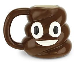 Wholesale Kawaii Mugs - emoji Shit Mug Creative Ceramic Kawaii Emoji Coffee Tea Cup Porcelain Novelty For wedding Gift Water Cup with lid new H90