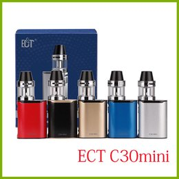 Wholesale E Cigarette Black Box - ECT C30 mini 30W starter kits 1200mah box mod e cigarette 2.0ml electronic cigarette e shisha mod 0.3ohm 100% no leaking c30mini