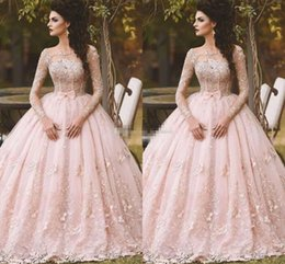 Wholesale Short Sleeve White Debutante Gowns - Pink Long Sleeve Prom Dresses Ball Gown Lace Appliqued Bow Sheer Neck 2017 Vintage Sweet 16 Girls Debutantes Quinceanera Dress Evening Gowns