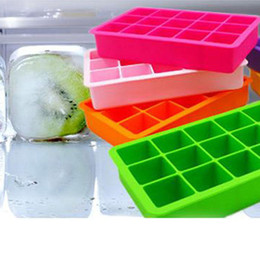 Wholesale Square Cube Silicone Moulds - Silicone Ice Cube Tray 15 Perfect Square Ice Tray Superior Mold With Flexible Easy Release Ice Cube Moulds Cocktail Cola Bar Pub Party