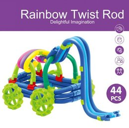 Wholesale Kids Soft Blocks - 44pcs set Rainbow Twist Rod DIY Magic Toys Hose Blocks Kid's Soft Montessori Colorful Rainbow Blocks Toy Classic Toys CCA6814 96set