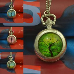 Wholesale Flowering Trees Pictures - Wholesale-fashion flower green tree pocket watch necklace woman fob watches silver round convex lens glass picture girl cute lady 2016 new