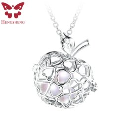Wholesale Colorful Pearls Necklace - HENGSHENG Hot Sale and Lovely cage necklaces & pendants For Women,one to three Rice shape Colorful Pearl with AAA Zircon pendant