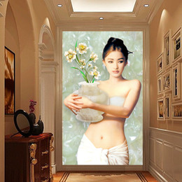 smoking girl painting Promo Codes - Custom Wall Murals Sexy Girl Beauty Fresco Beauty European oil painting Home living room corridor Decoration Custom Wall Murals